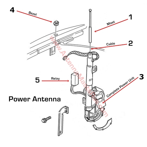 wiring diagram for power antenna 1998 1999 cadillac deville    antenna    mast parts  1998 1999 cadillac deville    antenna    mast parts