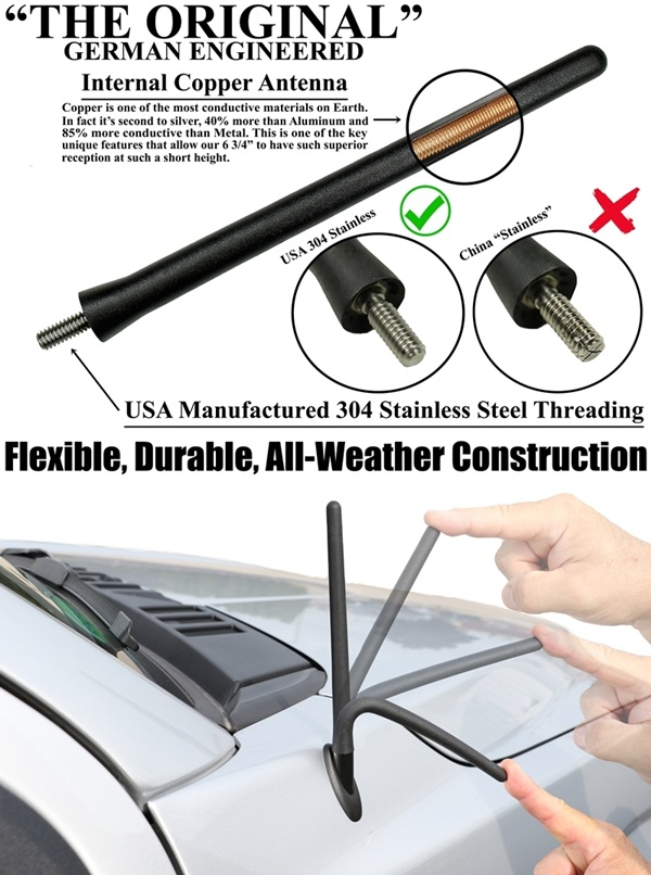 "2003-2007 Jeep Liberty 15/"" Black Spring Stainless AM//FM Antenna Mast Fits"